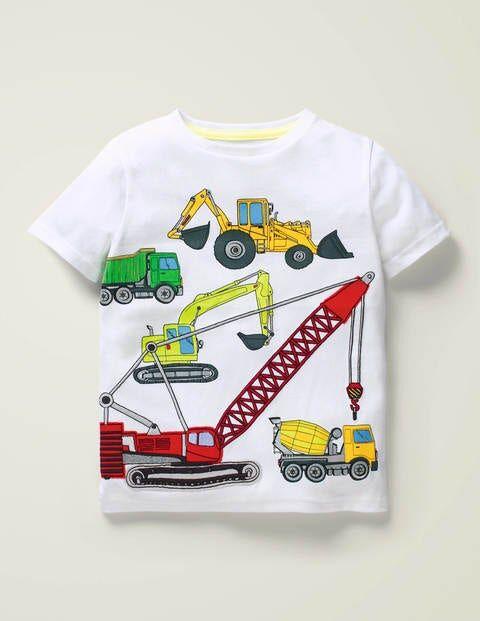Mini Appliqué Multi Vehicle T-shirt White Boys Boden Cotton Size: 11-12y
