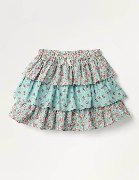 Mini Vintage Posy Tiered Skirt Blue Girls Boden Cotton Size: 8-9y