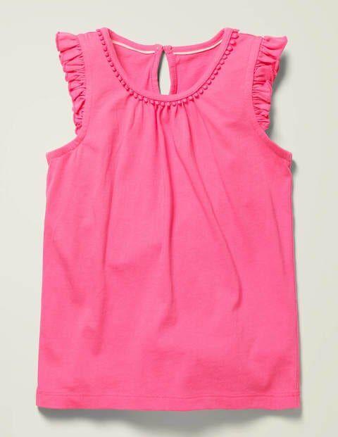 Mini Flutter Sleeve Jersey Top Pink Girls Boden Jersey Size: 15-16y