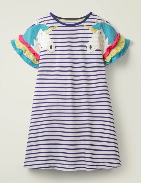 Mini Flutter Sleeve Jersey Dress Blue Girls Boden  - Female - Indigo - Size: 6-7y