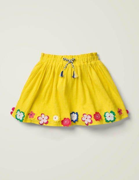 Mini Hula Flutter Skirt Yellow Girls Boden Cotton Size: 4-5y