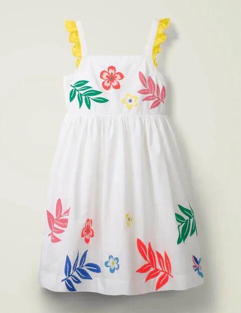 Mini Embellished Frill Sleeve Dress White Girls Boden  - Female - White - Size: 4-5y