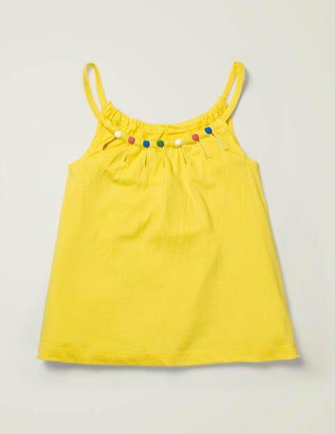 Johnnie b Bead Detail Jersey Top Yellow Girls Boden Cotton Size: 5-6y