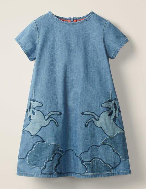 Mini Unicorn Appliqué Woven Dress Denim Girls Boden  - Female - Denim - Size: 11-12y