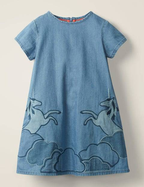 Mini Unicorn Appliqué Woven Dress Denim Girls Boden  - Female - Denim - Size: 5-6y