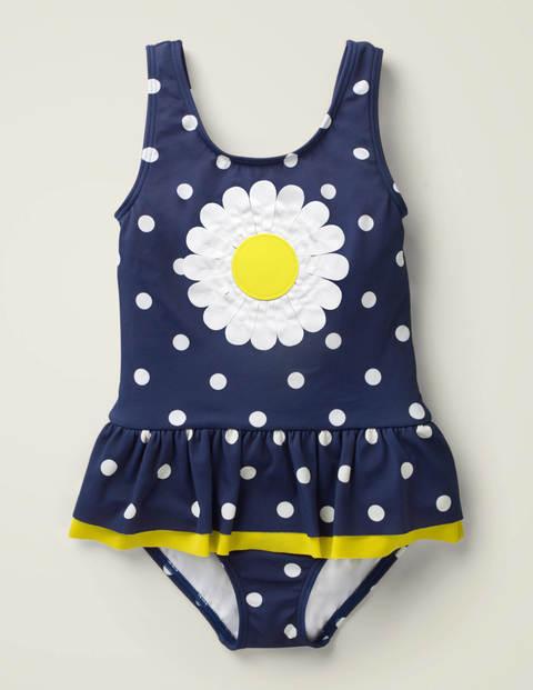 Mini Novelty Appliqué Swimsuit Navy Girls Boden  - Female - Blue - Size: 9-10y
