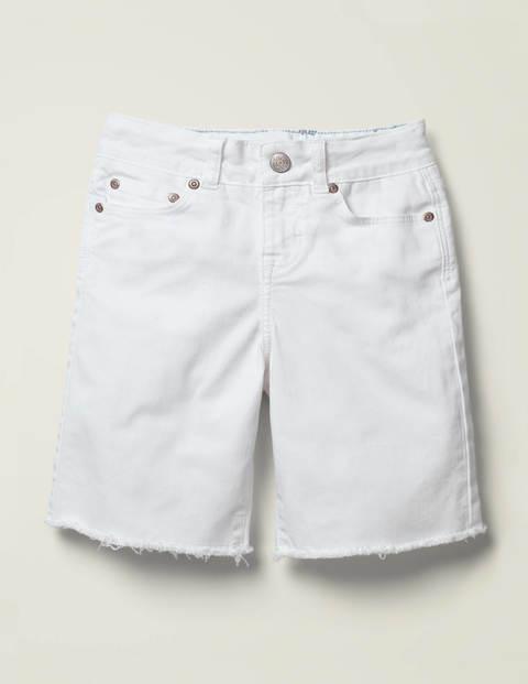 Mini Long Denim Shorts White Girls Boden  - Female - White - Size: 4y