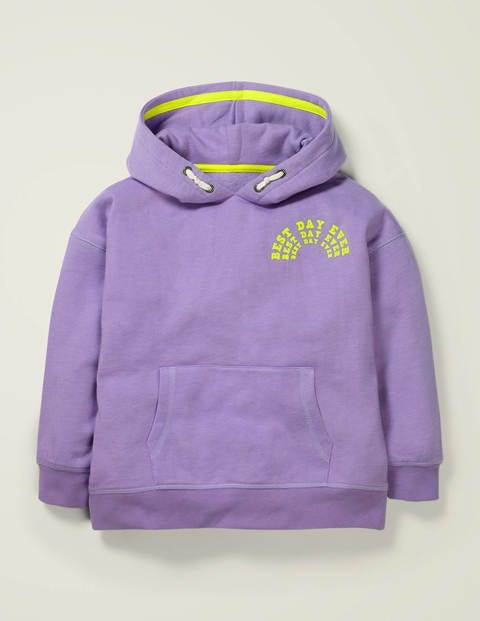Mini Best Day Ever Cosy Hoodie Purple Girls Boden  - Female - Purple - Size: 2-3y