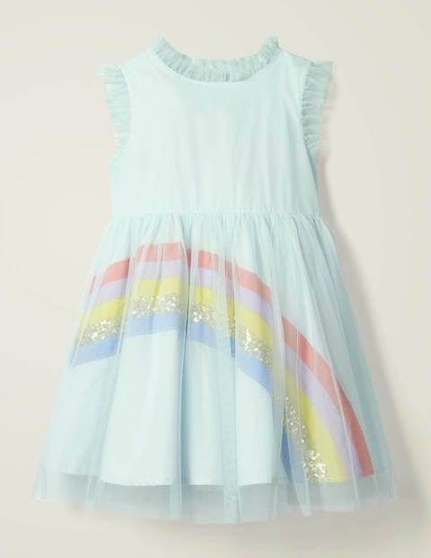 Mini Rainbow Tulle Dress Blue Girls Boden  - Female - Blue - Size: 11-12y