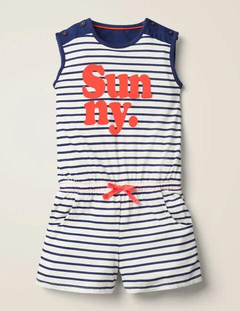 Johnnie b Slogan Jersey Playsuit Blue Girls Boden Jersey Size: 15-16y