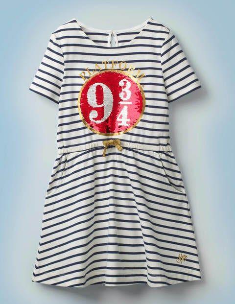 Mini Platform 9¾ Sequin Dress Blue Girls Boden Cotton Size: 4-5y