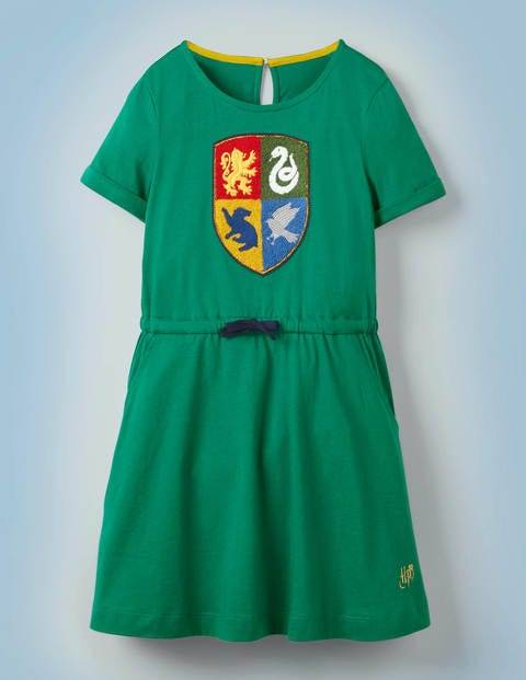 Mini Hogwarts Crest Dress Green Girls Boden Cotton Size: 7-8y