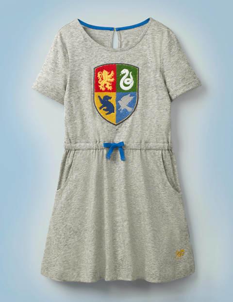 Mini Hogwarts Crest Dress Grey Girls Boden Cotton Size: 3-4y