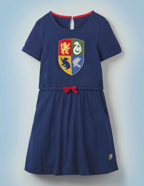 Mini Hogwarts Crest Dress Blue Girls Boden Cotton Size: 15-16y