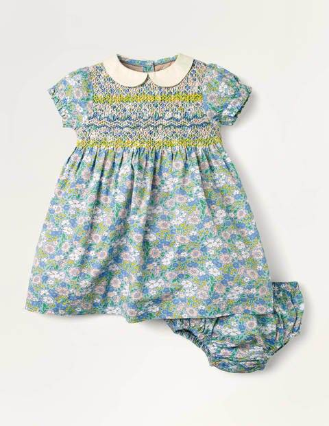 Baby Smocked Dress Blue Baby Boden Cotton Size: 18-24m