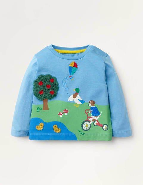 Baby Park Scene T-shirt Blue Baby Boden  - Unisex - Blue - Size: 0-3m