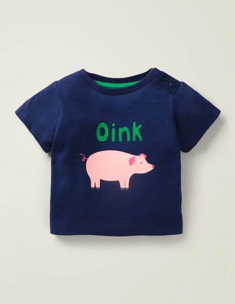 Baby Farm Animal T-shirt Blue Baby Boden