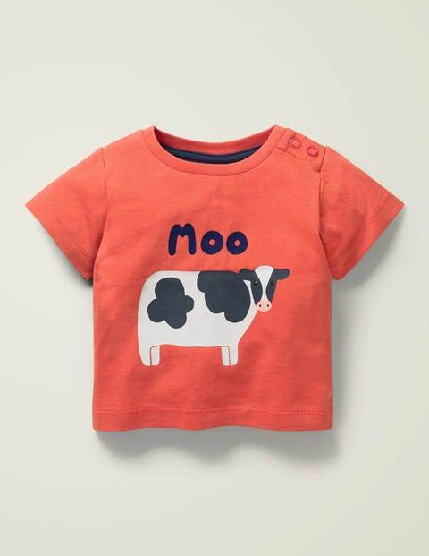 Baby Farm Animal T-shirt Red Baby Boden
