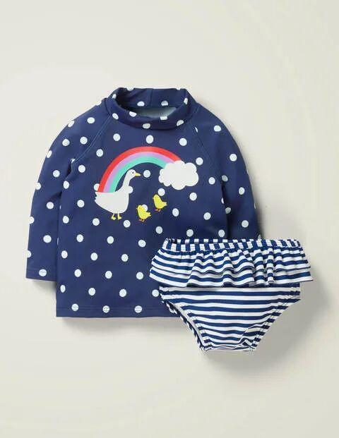 Baby Rash Vest Set Navy Baby Boden  - Unisex - Ivory - Size: 18-24m