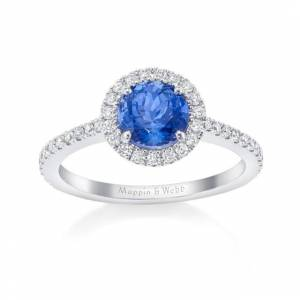 Mappin & Webb Carrington 18ct White Gold 6mm Tanzanite And 0.30cttw Diamond Ring - Ring Size N