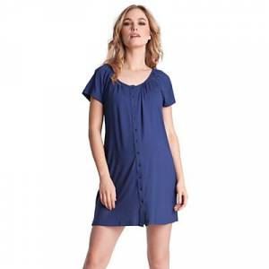 Séraphine Gemma Two-Button Maternity Nightdress, Mid Blue