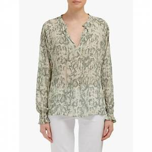 Lily and Lionel Florence Snake Print Blouse, Sage