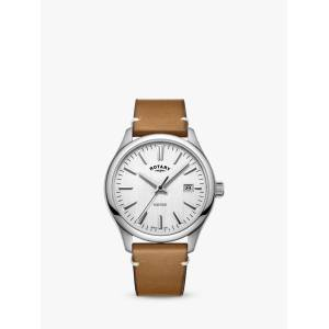 Rotary Men's Oxford Date Leather Strap Watch  - Tan/White