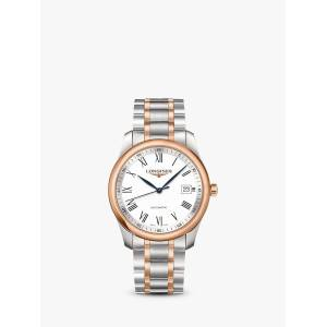 Longines L27935117 Men's Master Collection Automatic Date Two Tone Bracelet Strap Watch, Silver/Rose Gold  - Multi