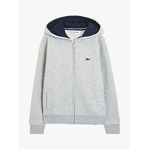 Lacoste Boys' Zip Through Hoodie, Grey Chine