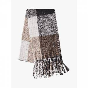 French Connection Check Scarf, Brown/Multi