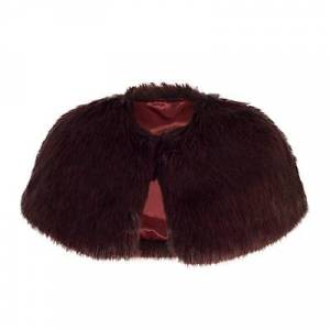 Chesca Faux Fur Luxury Shrug  - Cranberry