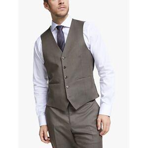 John Lewis & Partners Barberis Wool Tailored Suit Waistcoat, Light Brown