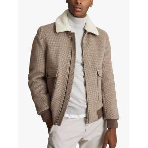 Reiss Padan Wool Blend Bomber Jacket, Brown  - Brown - Size: Medium