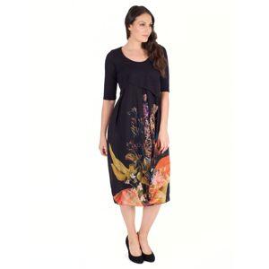 Chesca Tulip Chiffon Dress, Black/Orange  - Multi - Size: 14