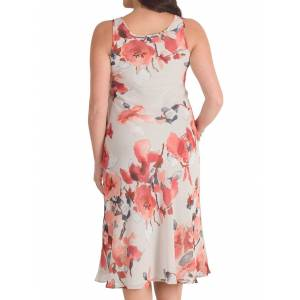 Chesca Floral Chiffon Dress, Grey/Red  - Multi - Size: 14