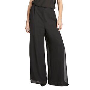 Gina Bacconi Chiffon Layered Trousers With Slits  - Black