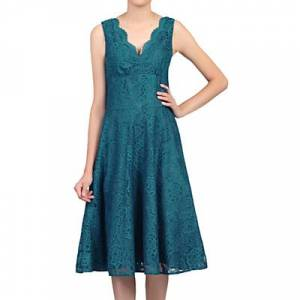 Jolie Moi Scalloped Lace Prom Dress  - Dark Teal