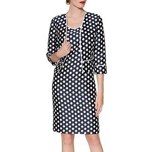 Gina Bacconi Beverly Spot Print Dress And Jacket  - Navy/White