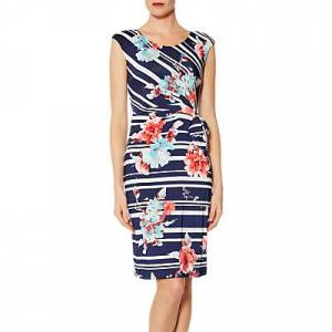Gina Bacconi Dustina Floral Stripe Dress, Navy/White