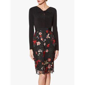 Gina Bacconi Iga Embroidered Dress, Black/Red  - Multi - Size: 18
