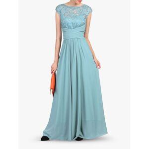 Jolie Moi Lace Bodice Pleated Maxi Dress  - Duck Egg Blue - Size: 16