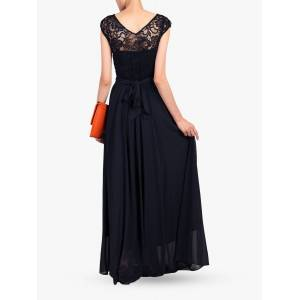 Jolie Moi Lace Bodice Pleated Maxi Dress  - Navy - Size: 14