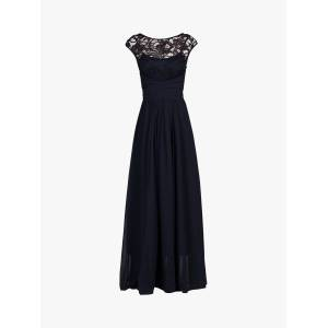 Jolie Moi Lace Bodice Pleated Maxi Dress  - Navy - Size: 14