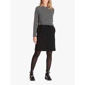 Betty & Co Striped Jersey Dress, Black/White