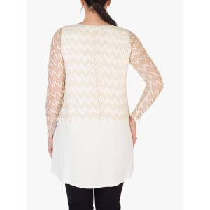 chesca Scallop Knit Top, Ivory/Gold  - White - Size: 24-26