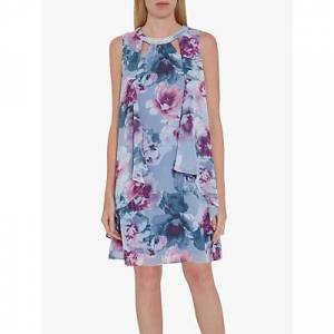 Gina Bacconi Alyona Floral Chiffon Dress, Lilac/Multi
