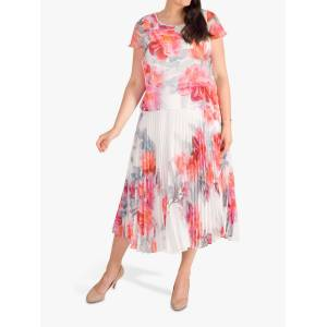 chesca Peony Pleated Dress, Ivory/Pink  - White - Size: 14