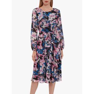 Gina Bacconi Ivah Floral Chiffon Dress, Pink/Black  - Multi - Size: 14