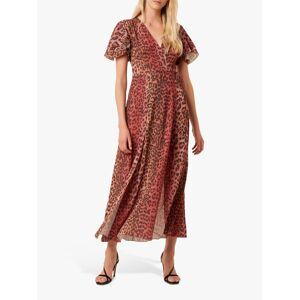 French Connection Annalia Leopard Print Tea Dress, Casablanca/Rhubarb  - Casablanca/Rhubarb - Size: 6