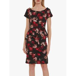 Gina Bacconi Glorielle Floral Dress, Black/Red  - Black - Size: 14